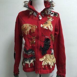 DESIGN OPTIONS red dog zip embellished sweater S